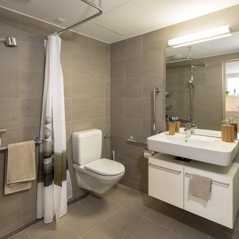 Dusche und WC. Vergrösserte Ansicht